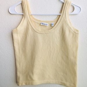 Soft yellow Cashmere tank top.